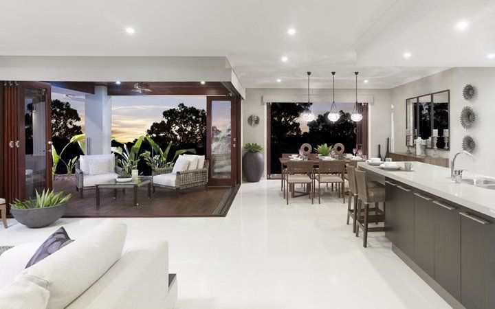 Metricon Outdoor area- bifold doors (but we'll have a column in the middle of them) and its on the left like ours will be!