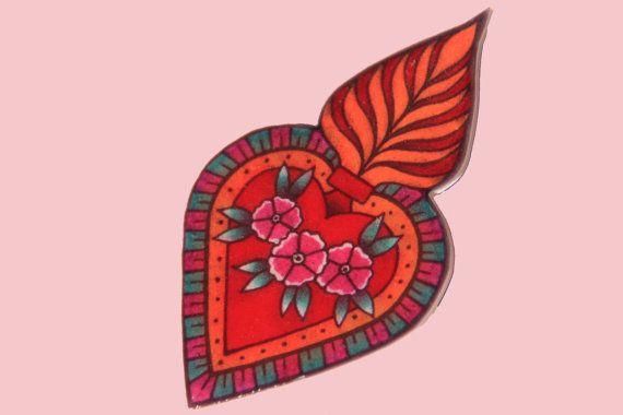 Broche heilig hart religieus badge tattoo flash art door MissFrauque