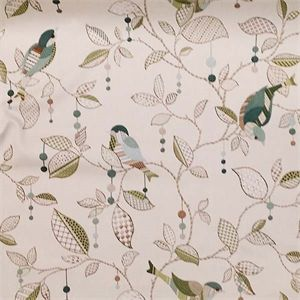 This is a green, brown and natural floral bird cotton drapery fabric by P Kaufmann Fabrics, suitable for any dcor in the home or office. Perfect for pillows, drapes and bedding.v164TEF