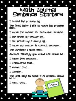 Common Core Math Journal Sentence Starters