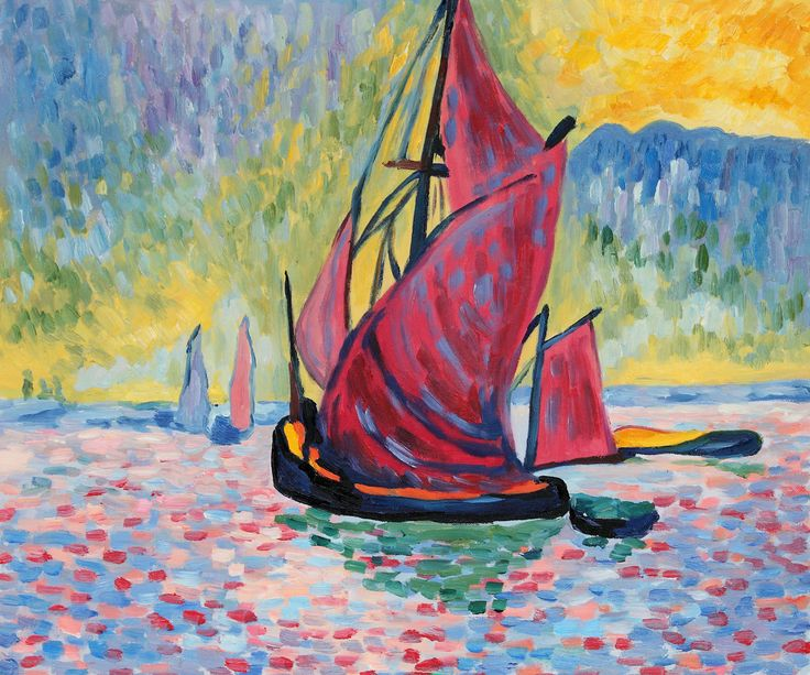 """The Red Sails"" by is a bright nautical painting by the fauvist artist Andre Derain."