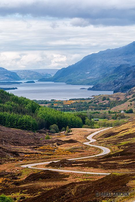 The road leading to Loch Maree in the Highlands༺✿ Scotland.  #loch #lac #road #route #Scotland #Ecosse #roadtrip #voyage #travel