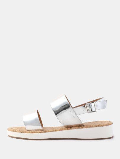 Open Toe Duo Strap Metallic Sandals SILVER -SheIn(Sheinside)