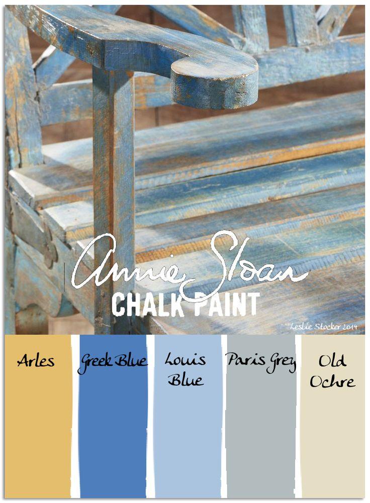 Annie Sloan Chalk Paint - Arles, Greek Blue, Louis Blue, Paris Grey and Old Ochre - via Leslie Stocker Colorways: Garden Bench
