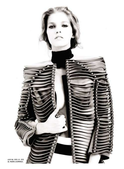 Sculptural Fashion - jacket with 3D surface structure and ball bead detail; fashion architecture