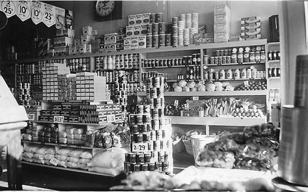 Inside View of Gas Station that also sold groceries. An early convience store.