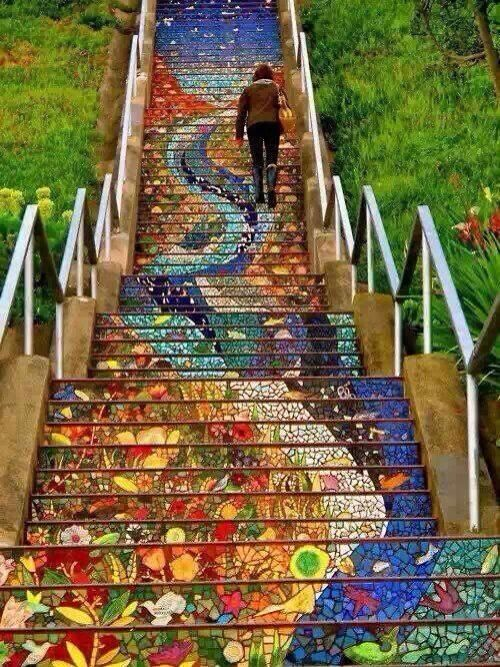 The secret stairs of Mosaic  San Francisco, California, USA 1700 16th Ave (between Noriega St & Moraga St)  San Francisco, CA 94122 Neighborhood: Inner Sunset