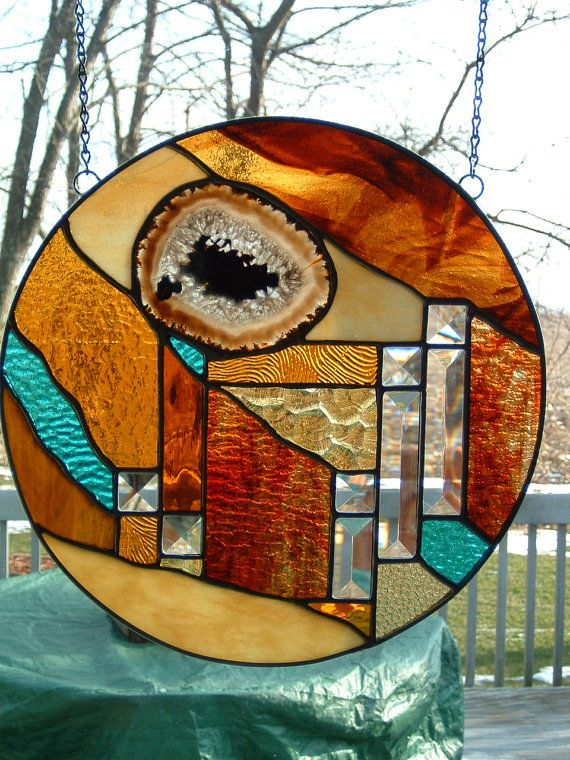 I am in love with these colors.   Round Earthtone Prairie Stained Glass by islandglass1 on Etsy