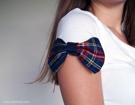 DIY T-Shirt Bow Sleeves  ***I'd do these in black velvet on a black shirt***