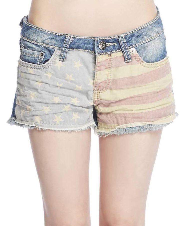 Trendy American Flag Denim Jean Shorts Wet Seal sz 5 nwts Stretchy Short shorts #YMI #Denim