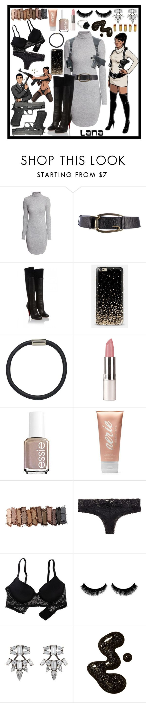 """Lana Kane -- Archer"" by im-a-fancy-unicorn ❤ liked on Polyvore featuring H&M, Gucci, Christian Louboutin, Hershesons, Essie, Aerie, Urban Decay, DANNIJO and LeiVanKash"