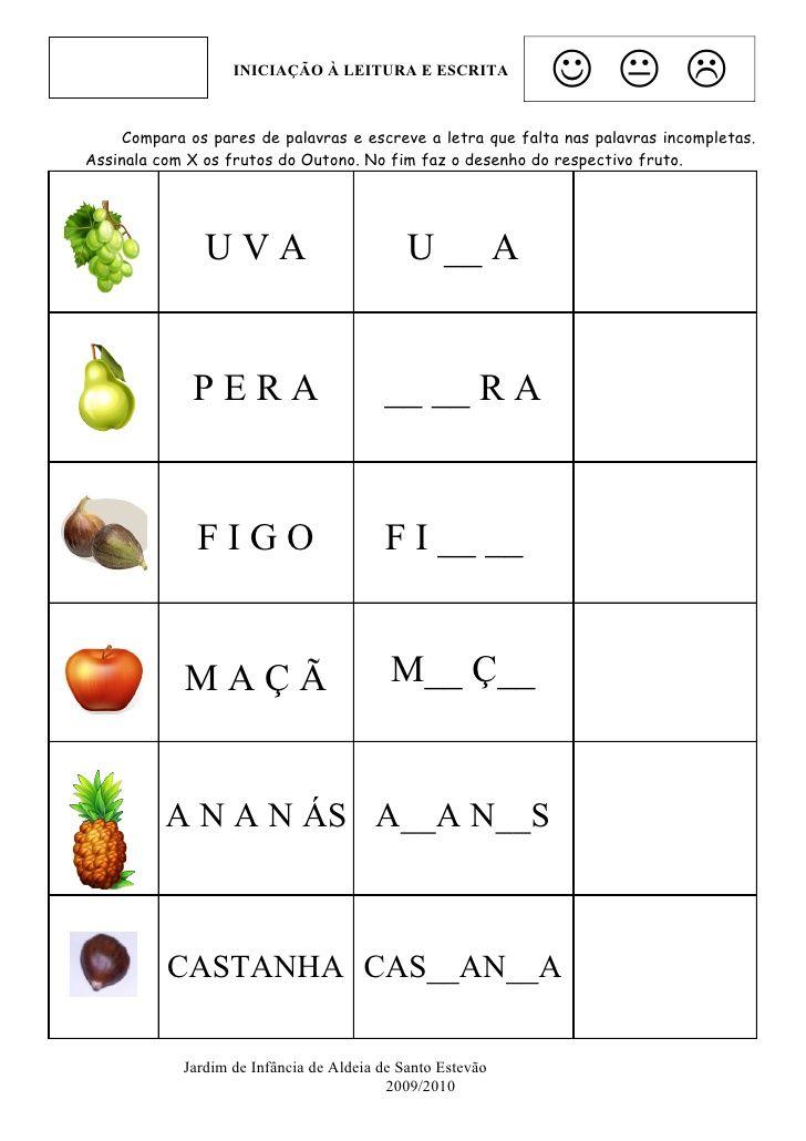 INICIAÇÃO À LEITURA E ESCRITA    Compara os pares de p...