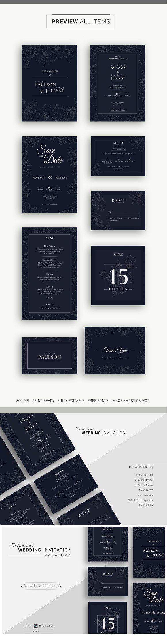 Wedding Invitation Suite. Wedding Card Templates