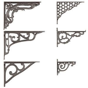 Cast-Iron-Wall-Brackets-Shelf-Cistern-Vintage-Victorian-Antique-Ornate-Pair-Of