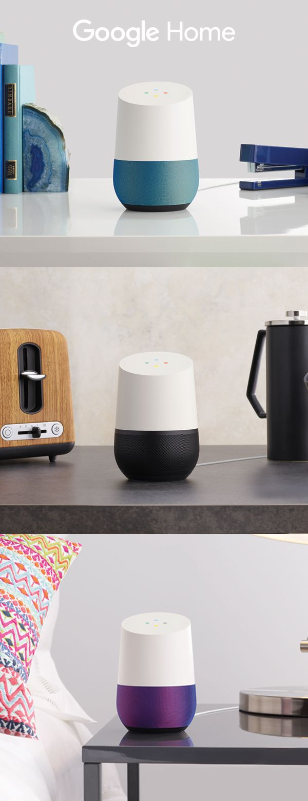 """Meet Google Home, the voice-activated speaker that fits your style. Choose from seven base colors to match the look of any room in your house. Ask Google Home questions and tell it to do things. It's your own Google, always ready to help. Just start with, """"Ok Google."""""""
