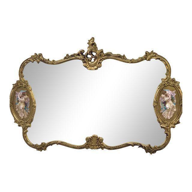 Antique Louis XIV Gilded Large Hanging Wall Mirror Baroque Italian design Rare #Baroque