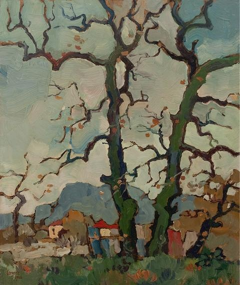 Gregoire Boonzaaier - Bare oaks, Newlands, late autumn #tree #art