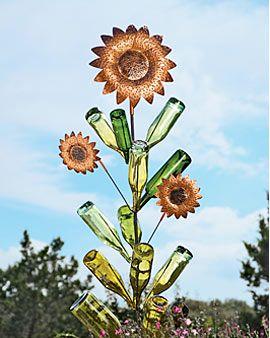 Sunflower Bottle Tree perfect use for my sunflower birdhouses & bottles