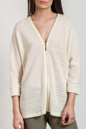 KNITTED PONCHO JACKET WITH STRIPES