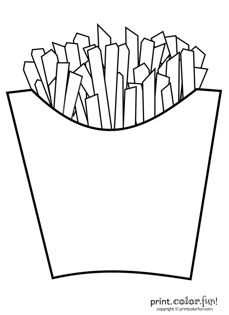 French fries print color fun free printables coloring pages crafts