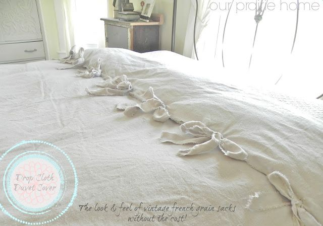 Our Prairie Home: No-Sew Cheap-O Drop Cloth Duvet Cover {Tutorial}