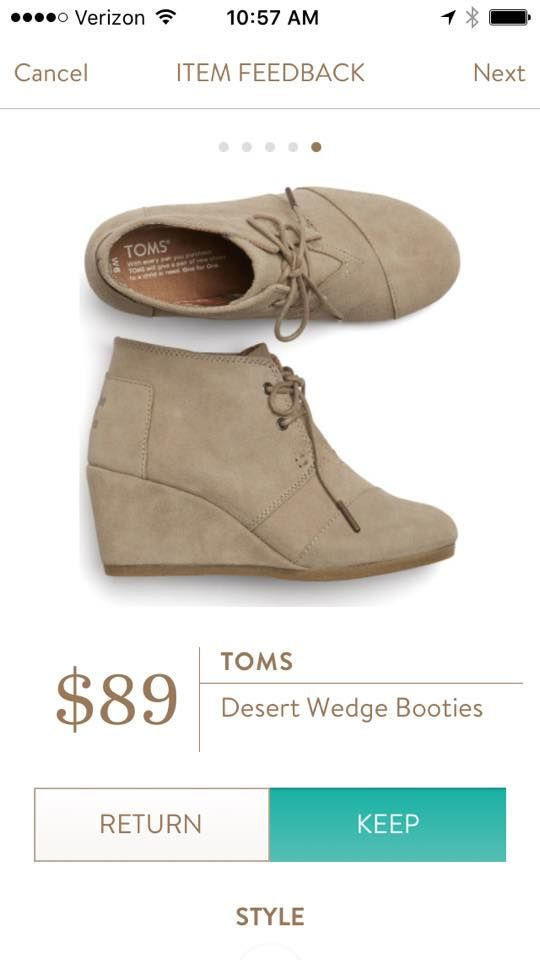 TOMS Desert Wedge Booties from Stitch Fix.   https://www.stitchfix.com/referral/4292370