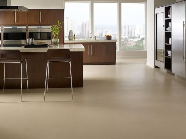 This rubber-cork blend is a stylish, non-slip and easy to clean flooring option. Shown: Capri cork Sequel, Biscuit. Photo courtesy of Capri cork