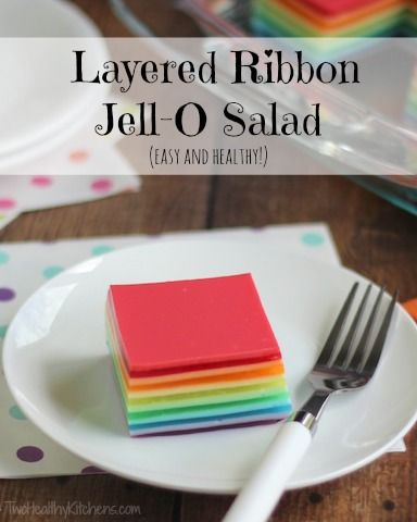 Layered Ribbon Jell-O Salad | Two Healthy Kitchens - A classic reborn! No one will ever guess how much healthier this pretty, rainbow-colored Jell-O salad is! It's high in protein … and incredibly easy to make!
