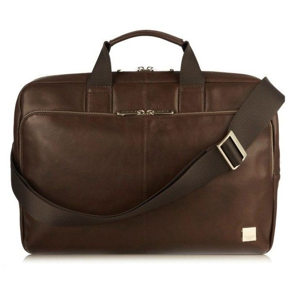 Men's Knomo London Brompton Newberry Leather Briefcase (17,835 PHP) ❤ liked on Polyvore featuring men's fashion, men's bags, men's briefcases, brown, mens brown leather briefcase, mens briefcase and mens leather briefcase