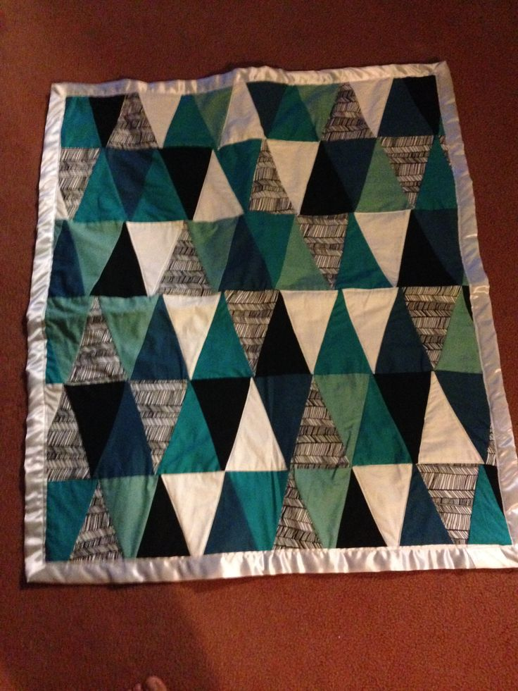 Triangle Quilt for Rory. Tutorial at http://seekatesew.com/modern-ombre-bw-triangle-quilt-tutorial-pattern/