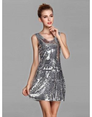 #Stylish_Party_Dress available in silver color and medium size made up of polyester.