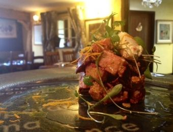 Roasted Beetroot with Bombay style Potatoes topped with crème fraiche & orange zest - deliciouslyorkshire