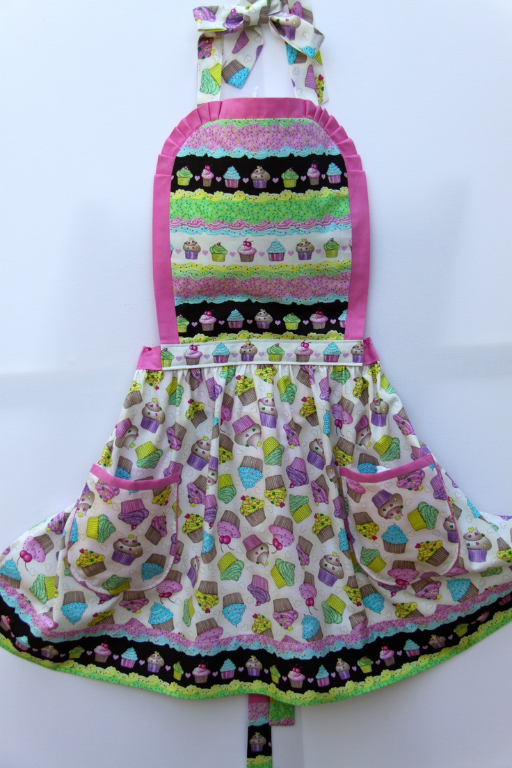 Cupcake Heaven.  Ladies apron with a combination of two fabrics trimmed in pretty pink.  Fabric sold out, style available using other fabrics in the range. Hand made in Australia   e: lollycreation@gmail.com