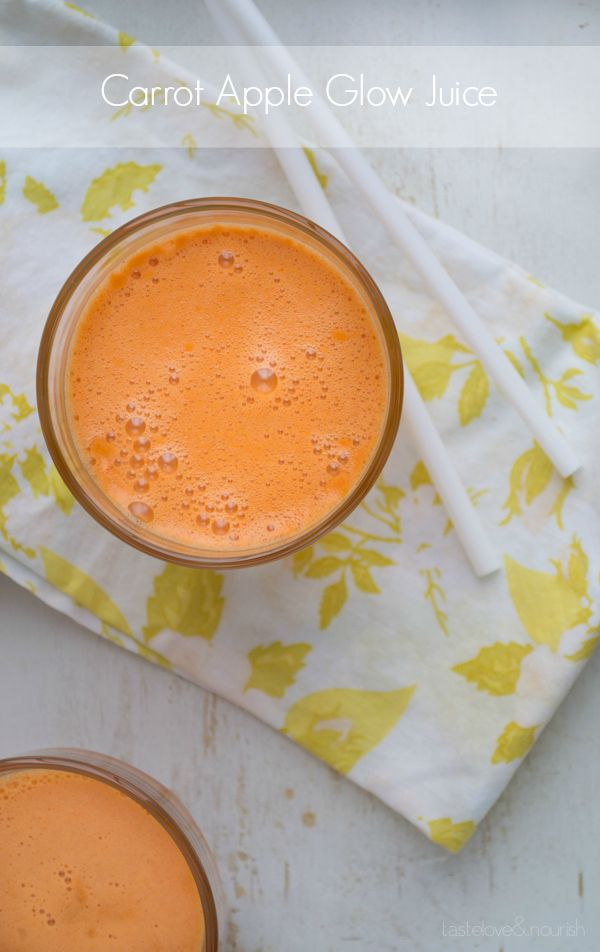 Carrot Apple Glow Juice is a combination of three juices that taste amazing and can help give your skin a vibrant glow!