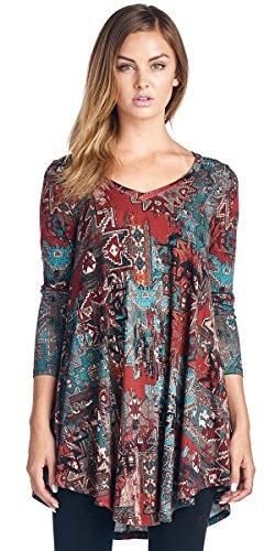 aac9c2f4ea4 Popana Women's Tunic Tops For Leggings - Long Sleeve Vneck Shirt - Regular  and Plus Size - Made in USA