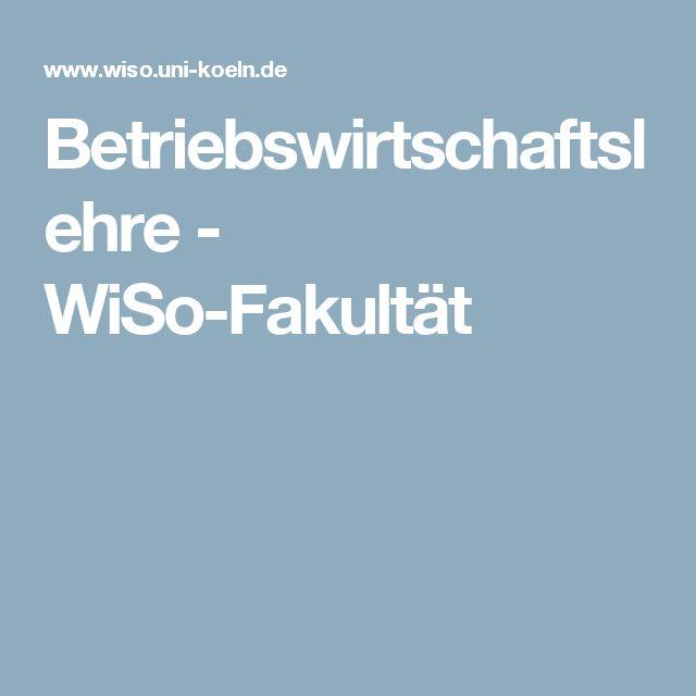 Betriebswirtschaftslehre - WiSo-Fakultät