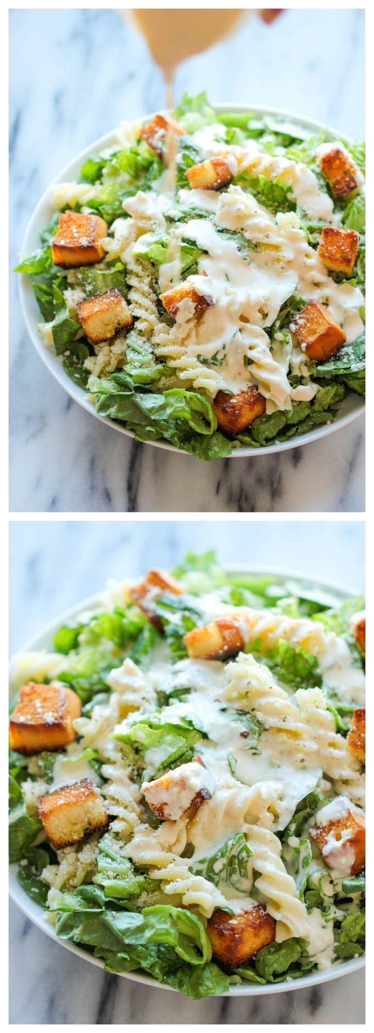 Fusilli Caesar Salad - The best caesar salad with sweet Hawaiian bread croutons. So good, you'll want to eat all of the croutons first!