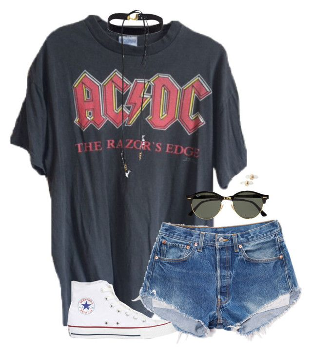 """abc acdc"" by tessorastefan ❤ liked on Polyvore featuring Bølo, Converse, Ray-Ban and Kendra Scott"