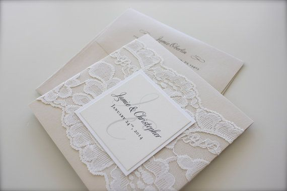 Lace Wedding Invitation, Jamie & Chris: soft. neutral. classic. champagne. ivory. cream. metallic. elegant. beautiful. pocket. on Etsy, 653,17 kr