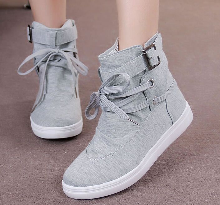 New 2014 spring and summer casual ankle boots fashion lacing canvas shoes for women 2 color plus size 36-40