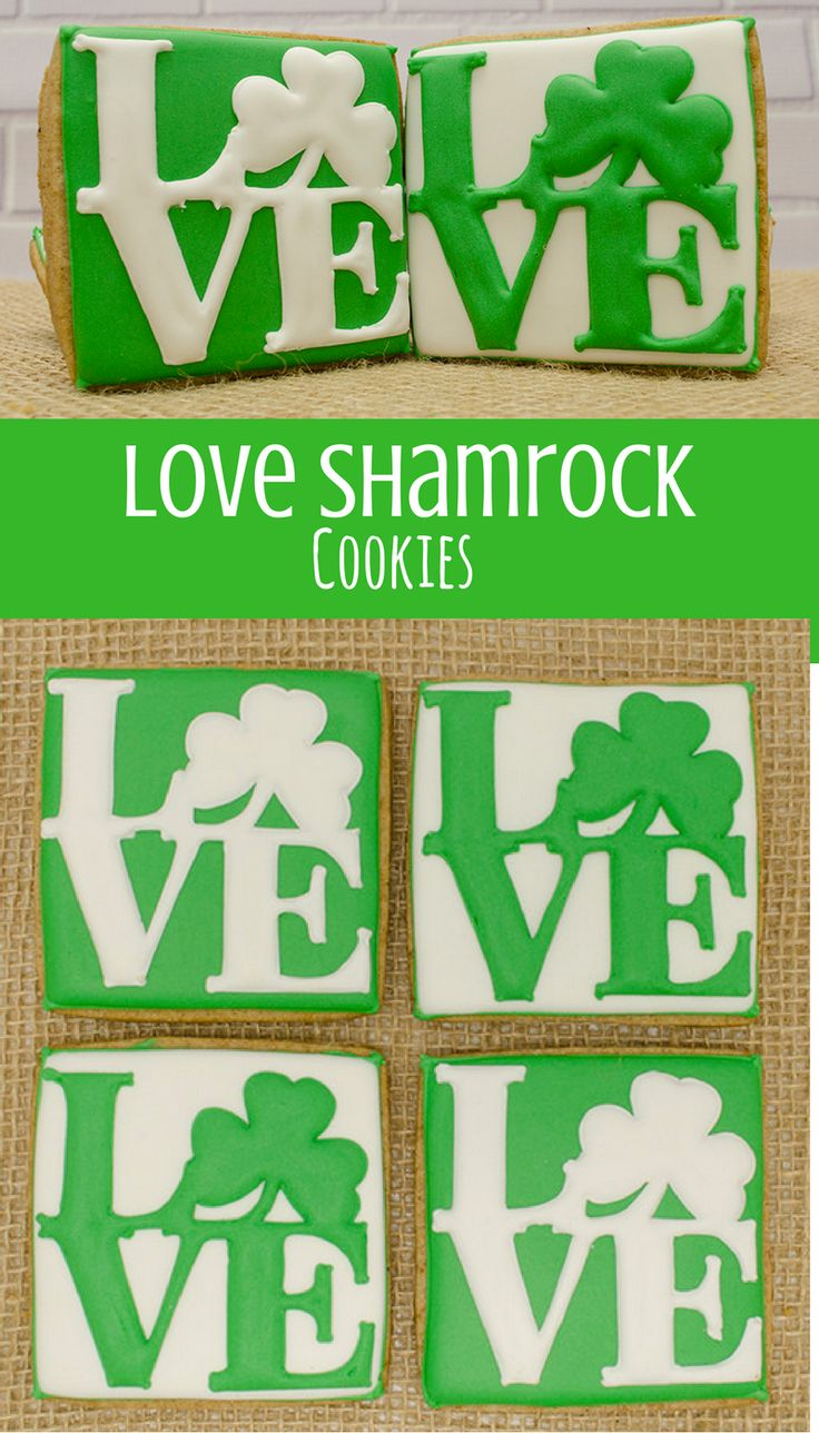 Decorated Cookies - Love - Shamrock - Sugar Cookies - St. Patrick's Day #affiliate