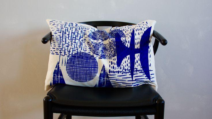 Blue Cushion, handscreenprinted by Malene Zapffe.www.malenezapffe.com