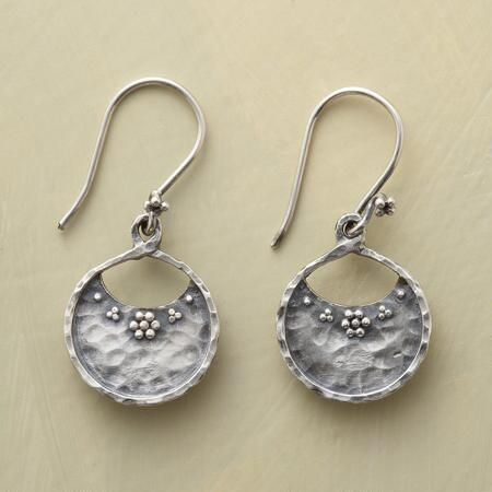 "FLOWER MARKET EARRINGS - Our hammered sterling silver market basket earrings are adorned with granulation bead flowers. Sterling French wires. Handcrafted exclusive. 1-3/8""L."