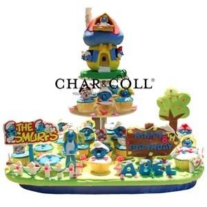 Smurf Acrylics Tiers Cake
