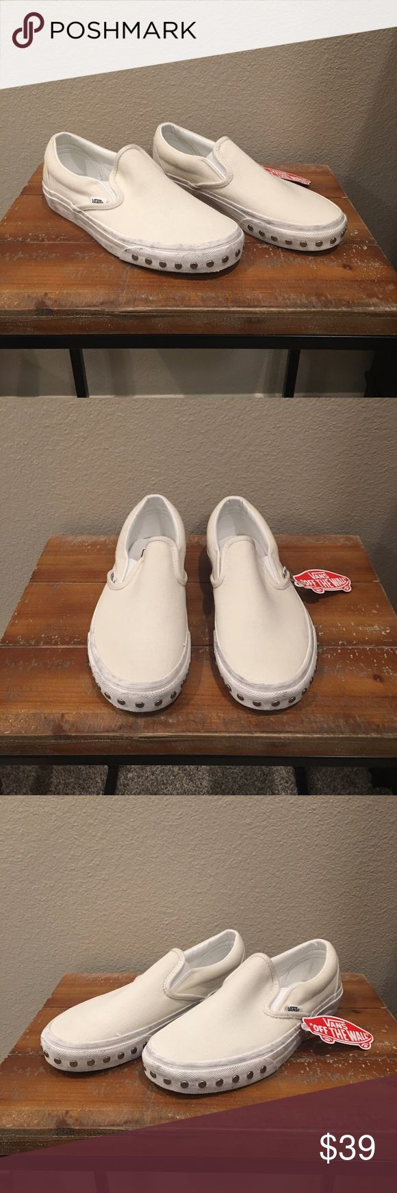 White Overwashed Classic Slip On Studded Vans New with box. MY FAVORITE VANS! I have two pairs of these. I wear them a lot because they're super rad and they go with everything🙌🏼 Selling some of my backstock. Lucky you. They are supposed to look scuffed on the white walls. Gives them a vintage look👌🏼 Silver studs on the white walls add a super special element. They are machine washable...no dryer. No longer in stores. Get them while they last! 😊💯 Vans Shoes Sneakers
