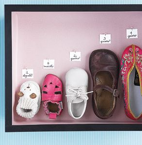 Save a shoe, clothes, art work, etc from throughout the years. Create a framed/shadow boxed piece of family history.