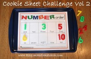 Free template for number order 1-10. Cookie Sheet activities are great for math centers!