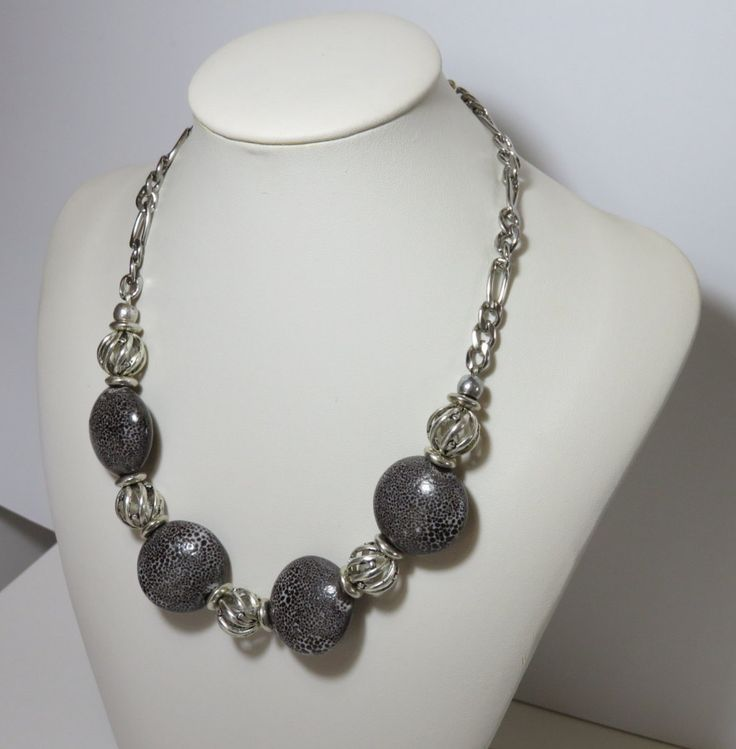 Necklace Grey Ceramic Metal Ball Chain Short Handmade by FabulousFuss on Etsy