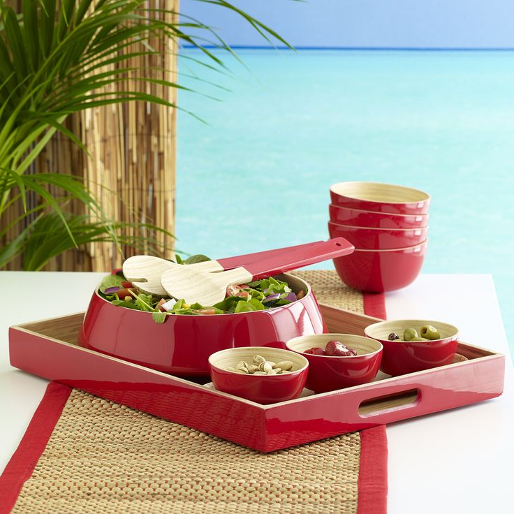 Perfect picnic and the perfect combination! Charlie bamboo salad bowl with servers red $69.95 teamed with Byron bamboo condiment tray and set of 3 bowls red $49.95, Oscar bamboo tray red $69.95, Avoca table runner red $29.95 and Iyla bamboo bowls s/4 red $49.95 - shop it all here http://www.oasishomewares.com/host-a-party/book-an-Oasis-party.html
