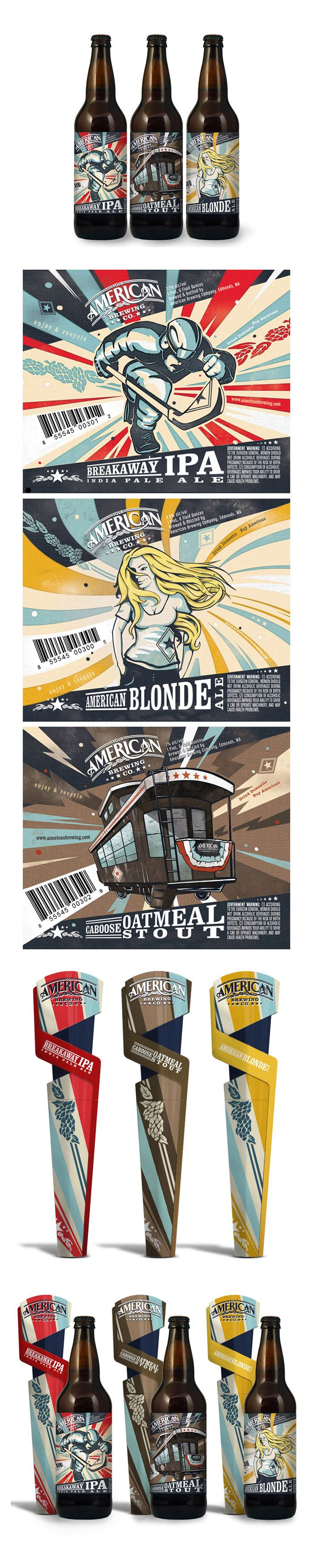 American Brewing Company. Terrific illustration style.